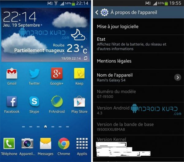 Android 4.3 Jelly Bean in esecuzione su Samsung Galaxy S4