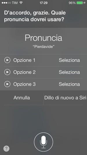 iOS 7: correzioni della pronuncia di Siri