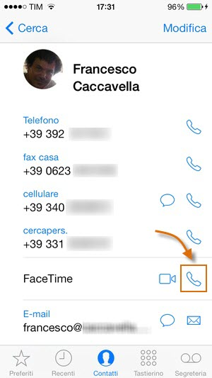 iOS7: le chiamate Voip solo audio con Facetime