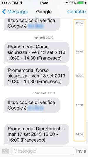 iOS 7: l'orario dei singoli messaggi