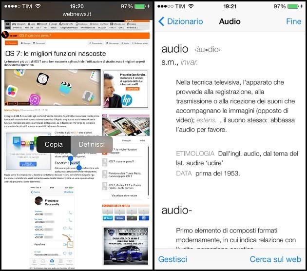 iOS 7: dizionario per l'italiano (iPhone)