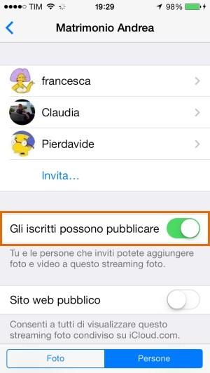 iOS 7: la condivisione aperta di album in iCloud