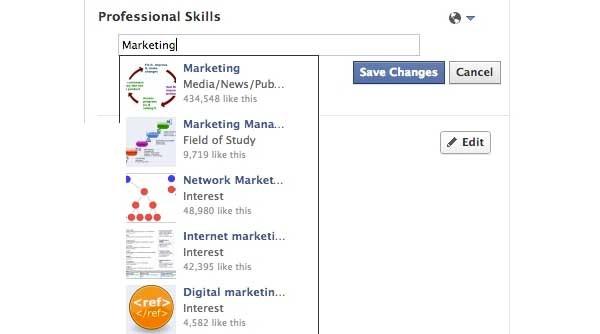 """Ecco come appare nei primi test la voce """"Competenze professionali"""" su Facebook. Il menù a tendina permette di aggiungere una serie di opzioni oppure di personalizzare il contenuto, esattamente come gli altri form."""