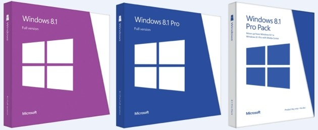 Le confezioni retail delle edizioni di Windows 8.1.