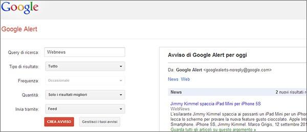 Il modulo per la creazione di un nuovo avviso in Google Alert