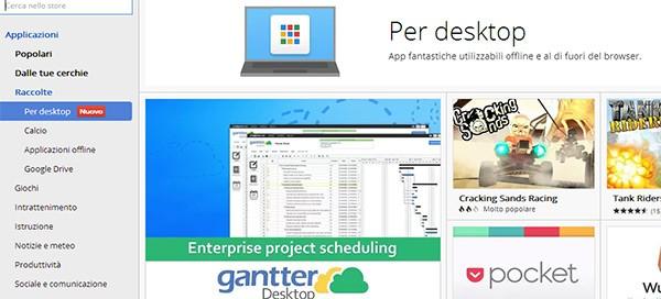 """La nuova sezione """"Per desktop"""" sul Chrome Web Store, contenente le Chrome Apps"""