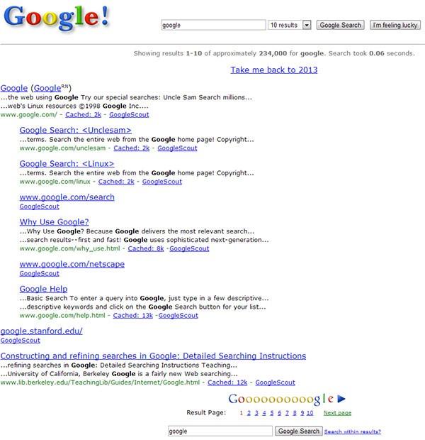 Ecco come apparivano le SERP di Google nel 1998: a svelarlo è un easter egg che festeggia i 15 anni del gruppo