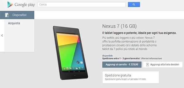 Il nuovo Nexus 7 da 16 GB in vendita nella sezione dispositivi dello store italiano Google Play