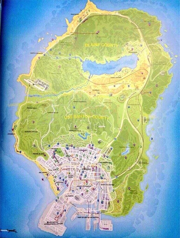 La mappa di GTA 5 fotografata sulla guida Brady Games