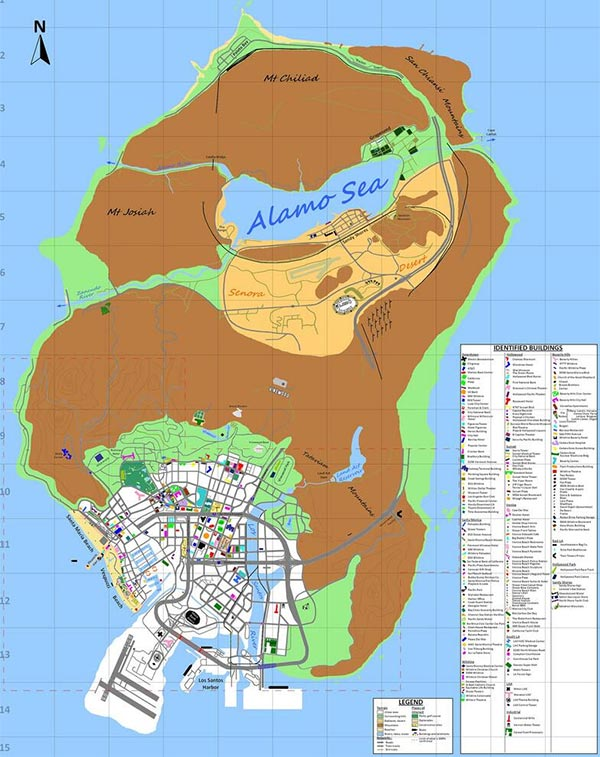 Una seconda versione per la mappa di GTA 5, con tanto di legenda