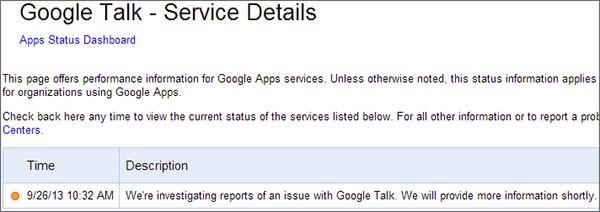 Google riconosce l'esistenza del problema al servizio Talk su Apps Status Dashboard