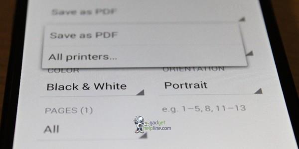 Opzioni per la stampa diretta delle immagini in Android 4.4 KitKat