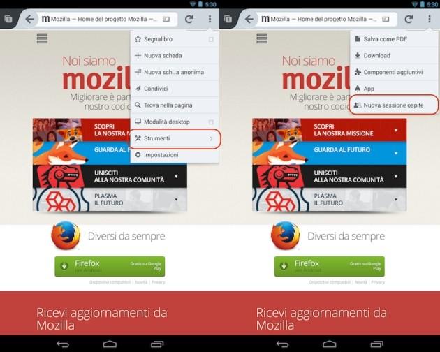 La funzione Sessione ospite in Firefox 25 per Android.