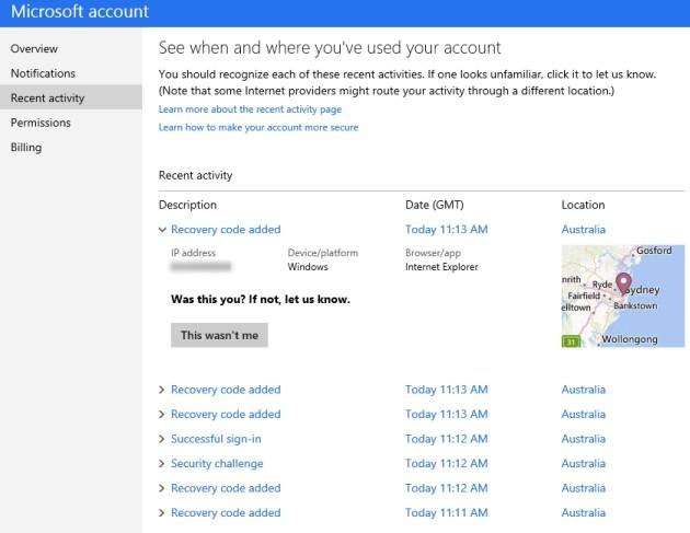 Elenco delle attività recenti per l'account Microsoft.
