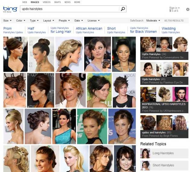 Bing Image Search mostra anche le immagini pubblicate su Pinterest.