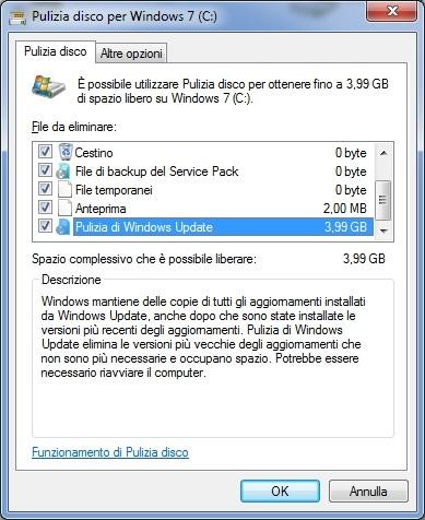 La nuova opzione presente nel tool Pulizia disco di Windows 7.