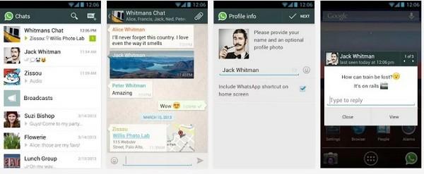 WhatsApp, screenshot della versione Android