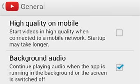 """L'opzione """"background audio"""" tra le impostazioni di YouTube per Android"""