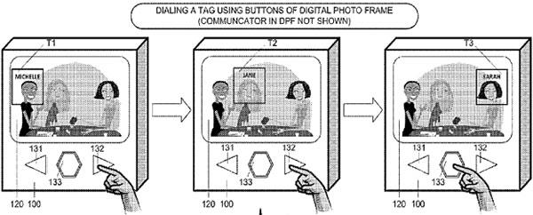 Un'immagine tratta dal brevetto di Google per la realizzazione di una cornice digitale in grado di interfacciarsi con gli smartphone