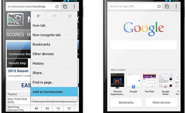 """""""Aggiungi a schermata Home"""" (sinistra) e l'interfaccia ridisegnata delle nuove schede (a destra)"""