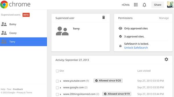 """La schermata per la configurazione della funzionalità """"Utenti supervisionati"""" in Chrome"""