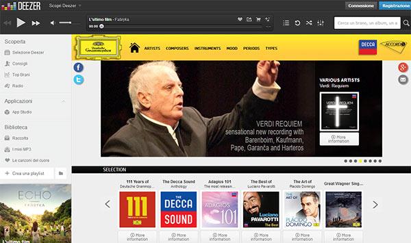 L'applicazione dedicata alla musica classica nel Deezer App Studio