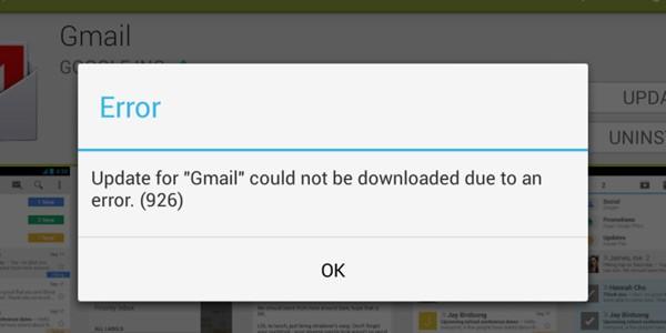 Errore nell'aggiornamento delle applicazioni di Google Play