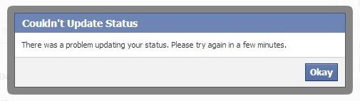 Facebook riconsegna un errore se si tenta di caricare uno status