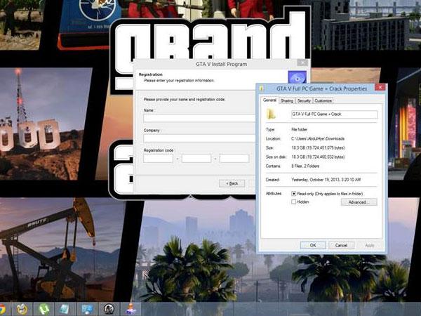 Il processo d'installazione della copia di GTA 5 per PC, contenente codice maligno