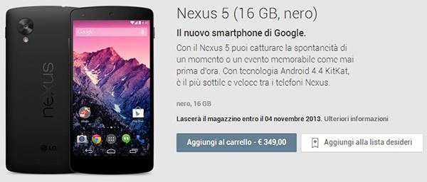 Nexus 5 sullo store Google Play, acquistabile anche in Italia a 349 euro