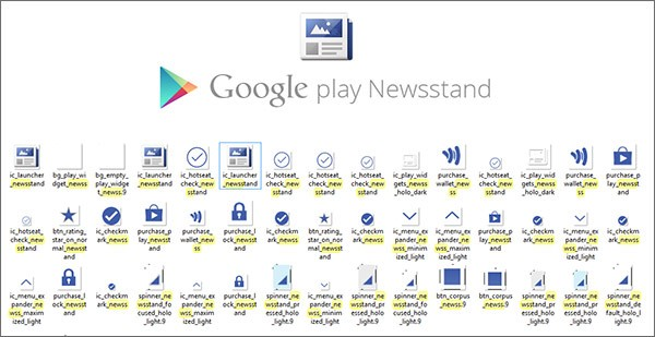 Le icone di Google Play Newsstand trovate nell'APK di Google Play Store 4.4.21