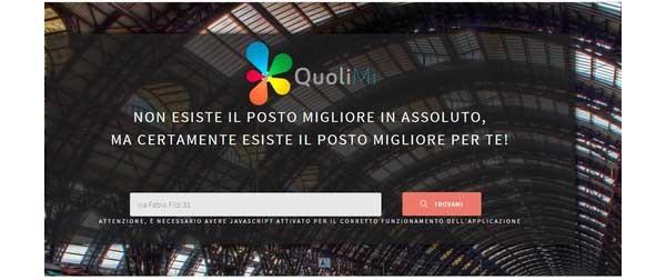 Prima classificata ad APP4MI è Quolimi, un servizio web che sfrutta gli OpenData del Comune di Milano per fornire una valutazione sintetica di un indirizzo sulla base di categorie che caratterizzano la vivibilità della zona.