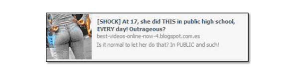 Un tipico esempio di shock-spam: un URL che cattura l'utente con un contenuto emotivo. Una volta cliccato, si viene reindirizzati a una pagina che cattura dati personali.