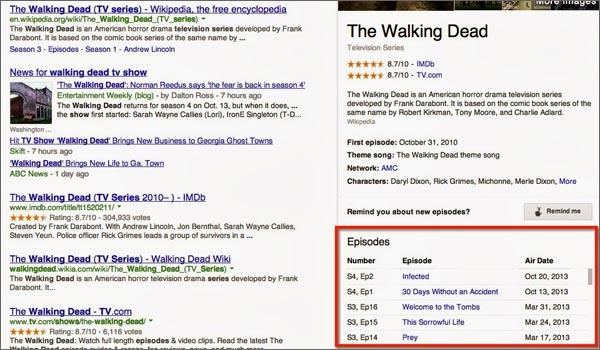 Le ricerche Google sulle serie TV mostrano anche la programmazione dei singoli episodi