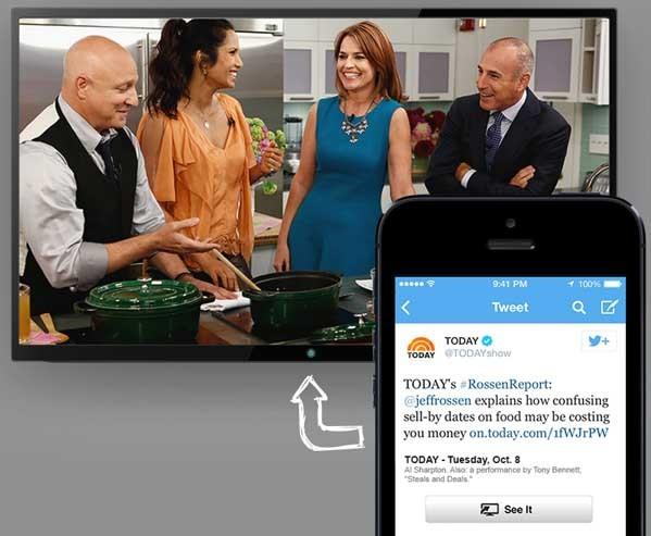 Un esempio di come funziona il sistema seeit, parnership tra Twitter e ComCast. Il tweet permette di sintonizzare il canale su tutti i device, compresa la televisione.