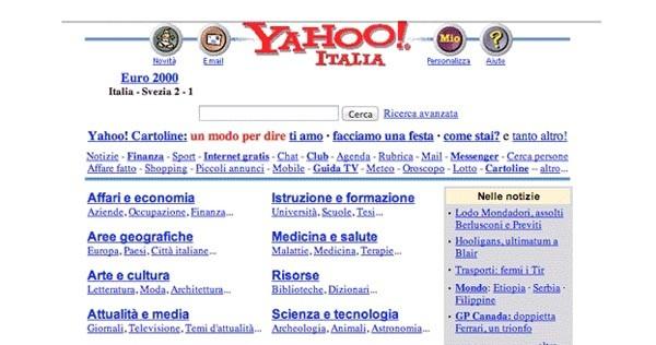 L'aspetto della home page di Yahoo Italia nella sua prima versione, anno 1999.