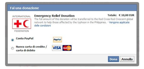donazione Filippine Facebook