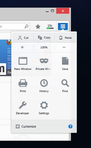 Il nuovo menu personalizzabile di Firefox Australis.