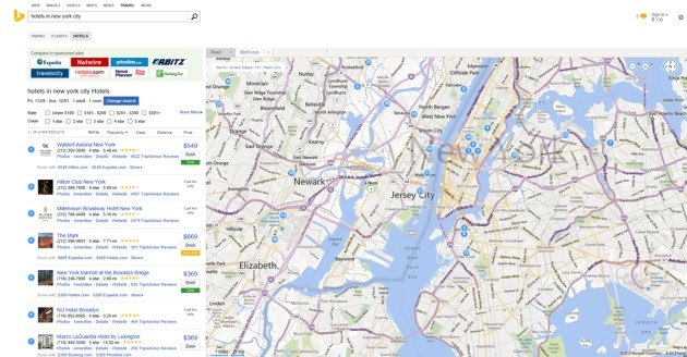 Le informazioni di TripAdvisor integrate nei risultati delle ricerche su Bing.