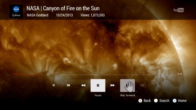 L'app YouTube preinstallata sulla Xbox One.