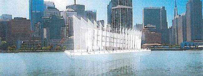 L'aspetto finale che avranno le chiatte galleggianti di Google una volta ultimata la costruzione