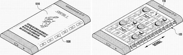 Il brevetto Samsung che mostra il funzionamento dei display curvi, che occupano anche i bordi laterali dello smartphone