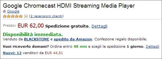L'attuale prezzo di Chromecast su Amazon (lunedì 25/11/2013)