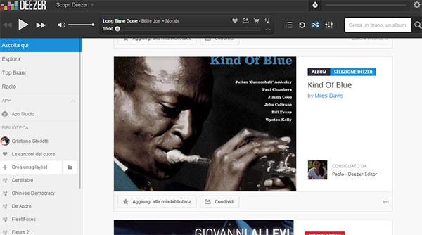 """La sezione """"Ascolta qui"""" di Deezer, con consigli musicali forniti in base ai gusti degli utenti"""