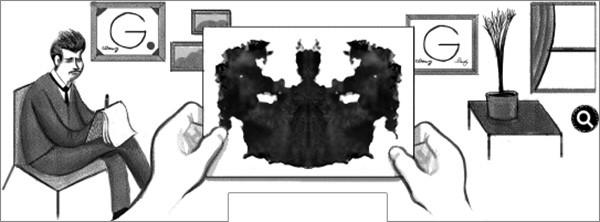 Il doodle interattivo che Google dedica a Hermann Rorschach in occasione del 129esimo anniversario della nascita