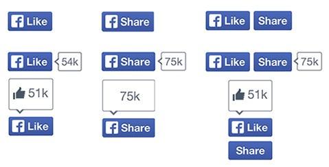 Nuovi pulsanti di Facebook