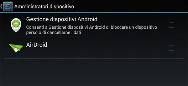 L'impostazione Gestione Dispositivi Android tra le opzioni relative alla sicurezza