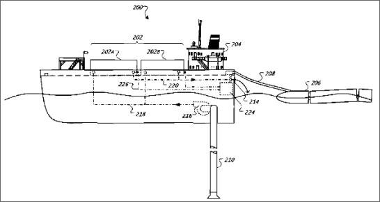 La struttura galleggiante progettata da Google in un brevetto del 2009