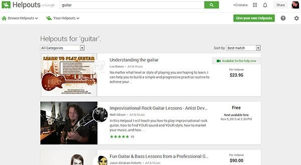 Ecco i risultati di Google Helpouts per chi cerca lezioni di chitarra online