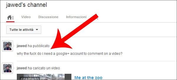 L'intervento di  Jawed Karim su YouTube, per dire la propria sul nuovo sistema di commenti che prevede l'integrazione di Google+